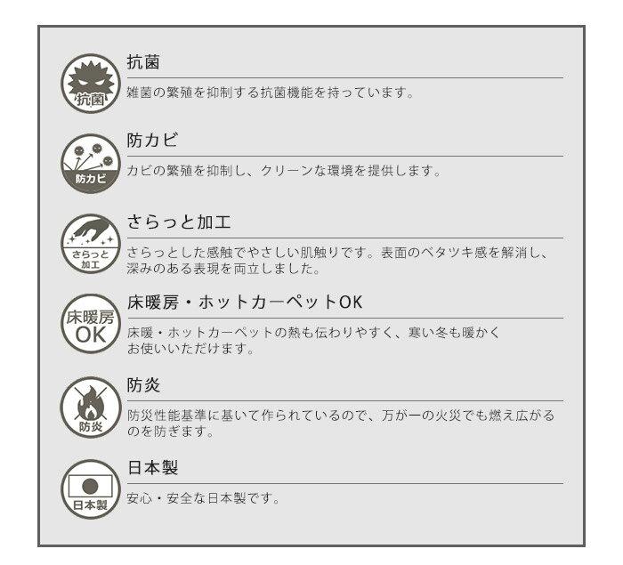 抗菌・防カビ・さらっと加工・床暖房・ホットカーペット対応・防炎機能つきの日本製ラグ