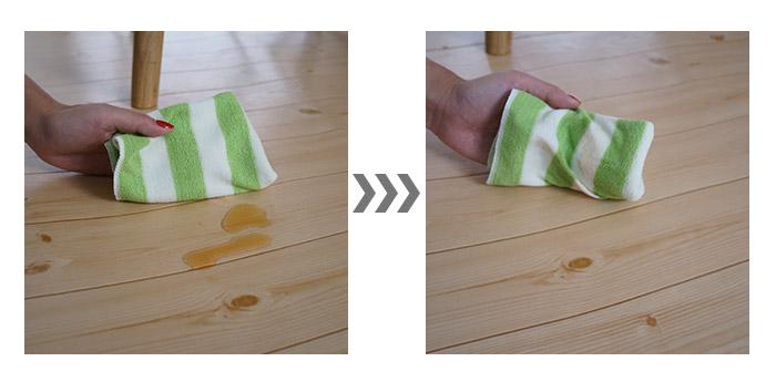 お手入れラクラク!汚れたらさっとふきとり!飲み物をこぼしてしまっても、水玉状になるのでサッと拭くだけでキレイになります。
