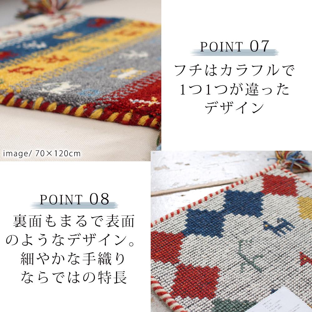 フチはカラフルで1つ1つ違ったデザイン。裏面もまるで表面のようなデザイン。細やかな手織りならではの特長です。