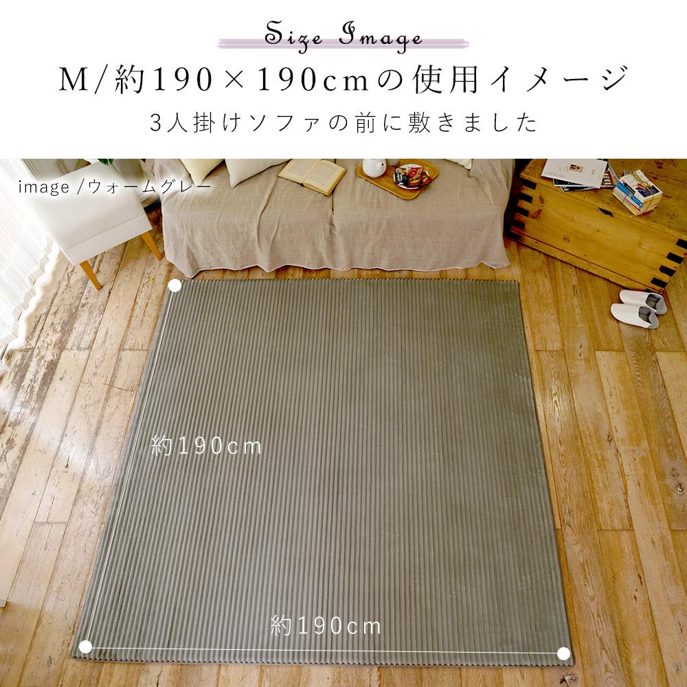 サイズイメージ/約190×190cmを3人掛けソファの前に置いたイメージ