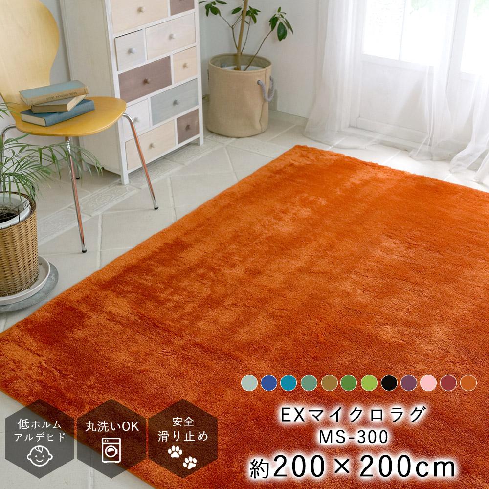 【廃盤カラーのため大特価!】EXマイクロファイバーラグ MS-300 約200×200cm(Mサイズ/約2畳相当)