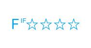 インテリアファブリック性能評価協議会が定めた自主基準によるVOC(ホルムアルデヒド)放散の等級区分を表示した統一マーク。F☆☆☆☆は最上位の性能です。