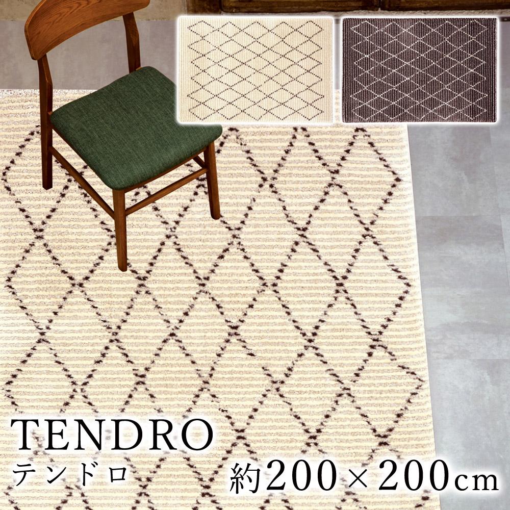 ベニワレン風のデザインがおしゃれなウィルトン織り ラグ テンドロ 約200×200cm スミノエ