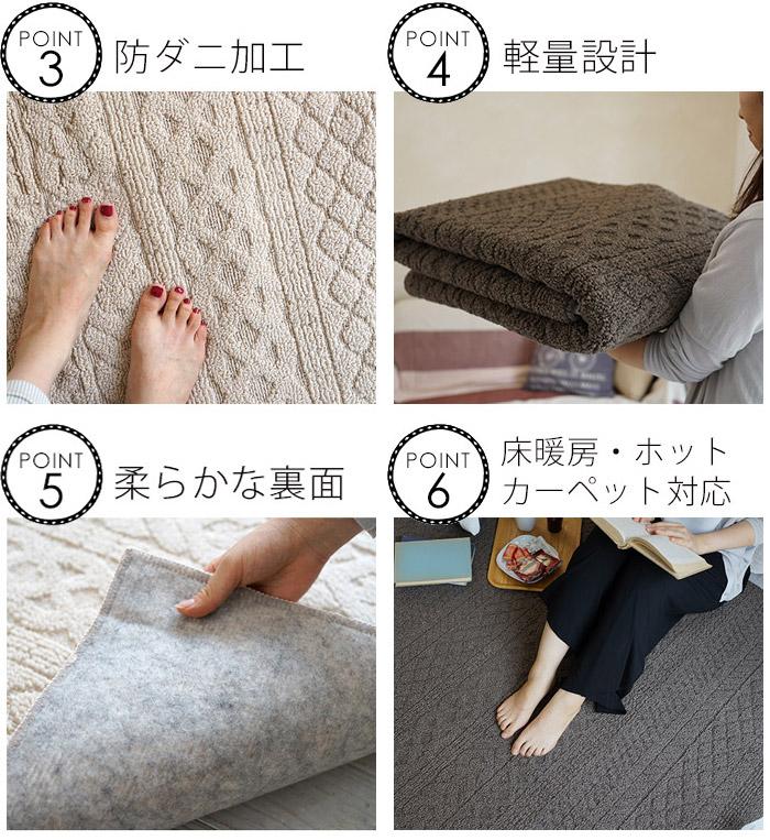 防ダニ加工/軽量設計/柔らかな裏面/床暖房・ホットカーペット対応