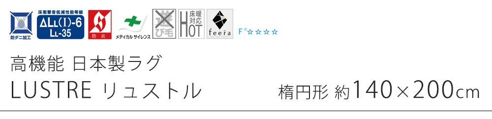 高機能 日本製ラグ リュストル Sサイズ/約140×200cm(楕円形)