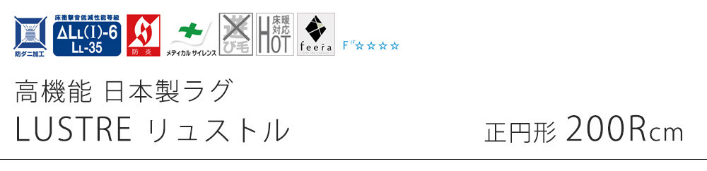 高機能 日本製ラグ リュストル Mサイズ/約200×200cm(正円形)